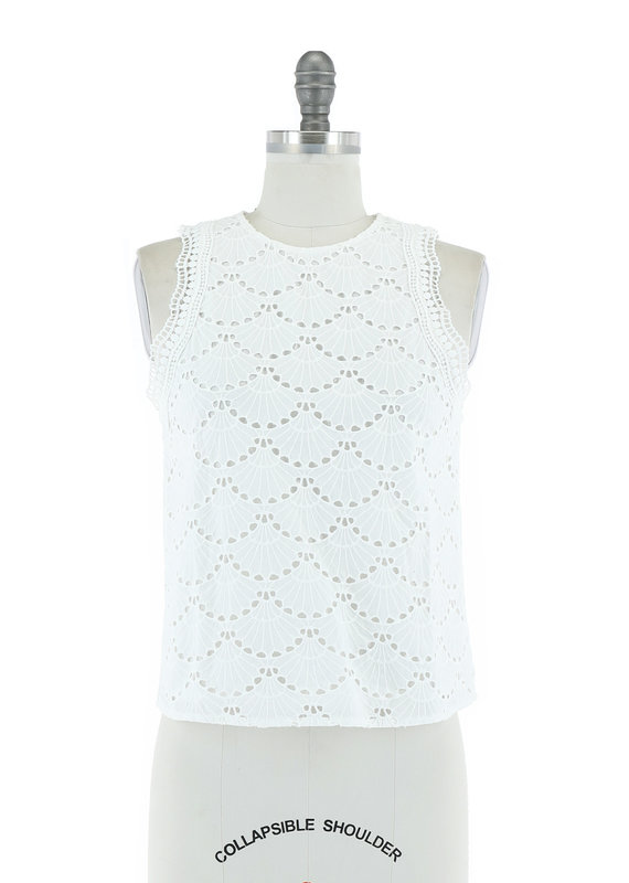 Skies Are Blue Time For More Scalloped Sleeveless Top