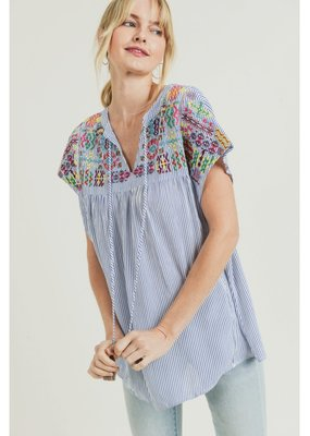 JODIFL Striped Top with Embroidered Details