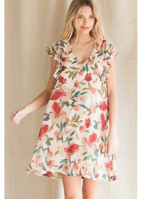 JODIFL Floral Print Chiffon Dress