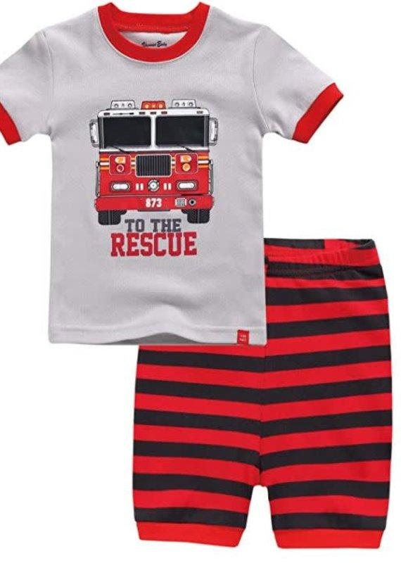 Vaenait Baby Red Truck Pajama Set
