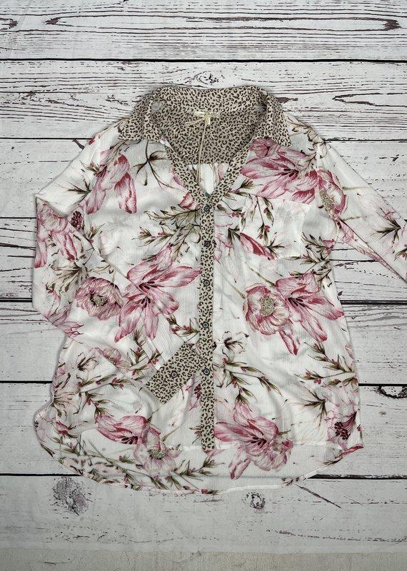 Mystree Inc. Mix Print Floral Shirt