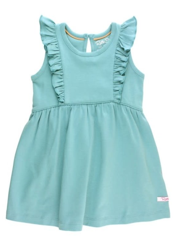 Rufflebutts Melon Slub Ruffle Dress