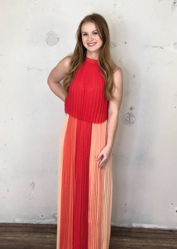 Skies Are Blue Speak For Yourself Pleated Halter Maxi Dress