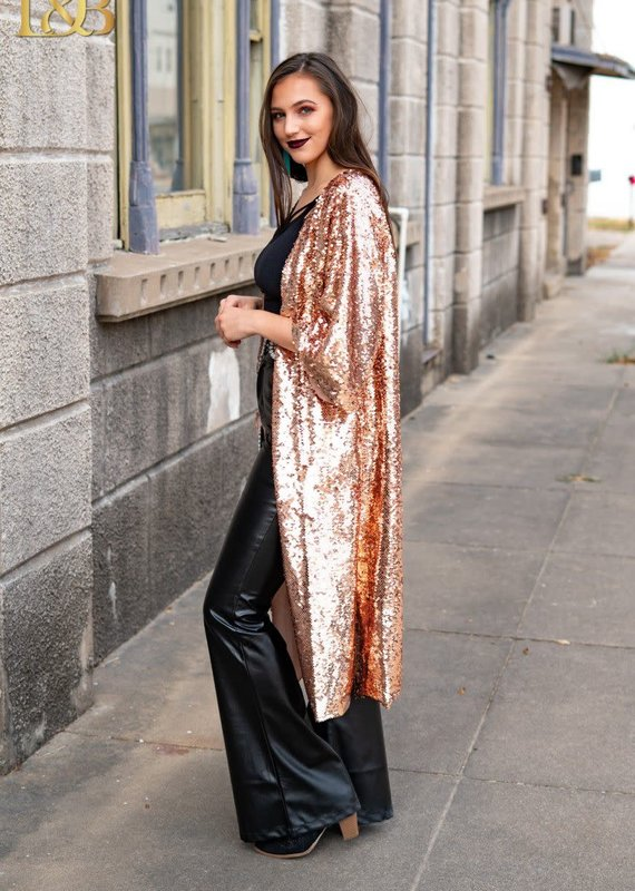 L&B Sequin Sleeve Kimono Rose Gold