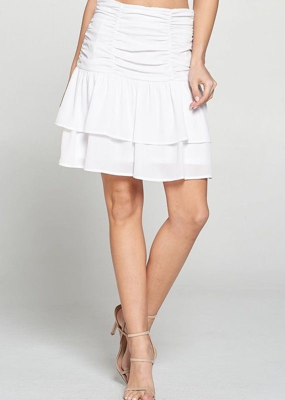 Adrienne White Tiered Skirt
