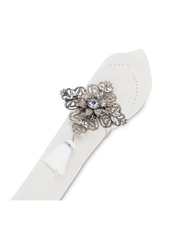 Silver Napkin Ring with Tassel - B1