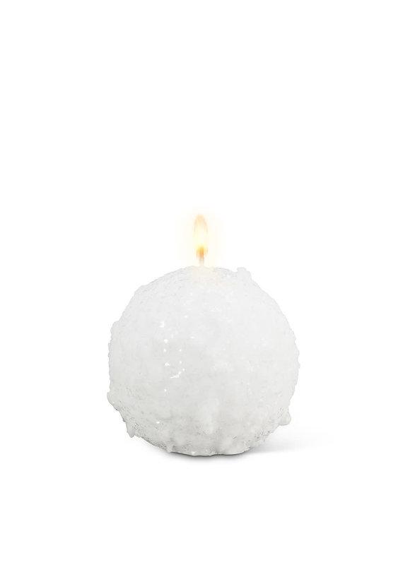 "Small Snowball Pillar Candle 3"" Round - CB1"