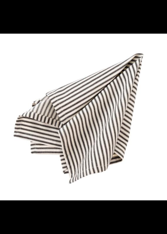 Set of 4 Fabric Napkins with Black Ticking - EB1