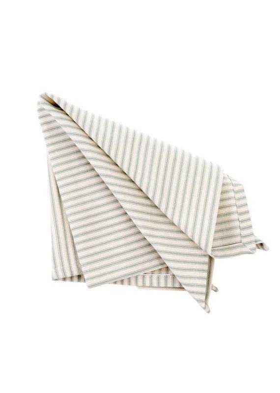 Set of 4 Fabric Napkins with Grey Ticking - EB1