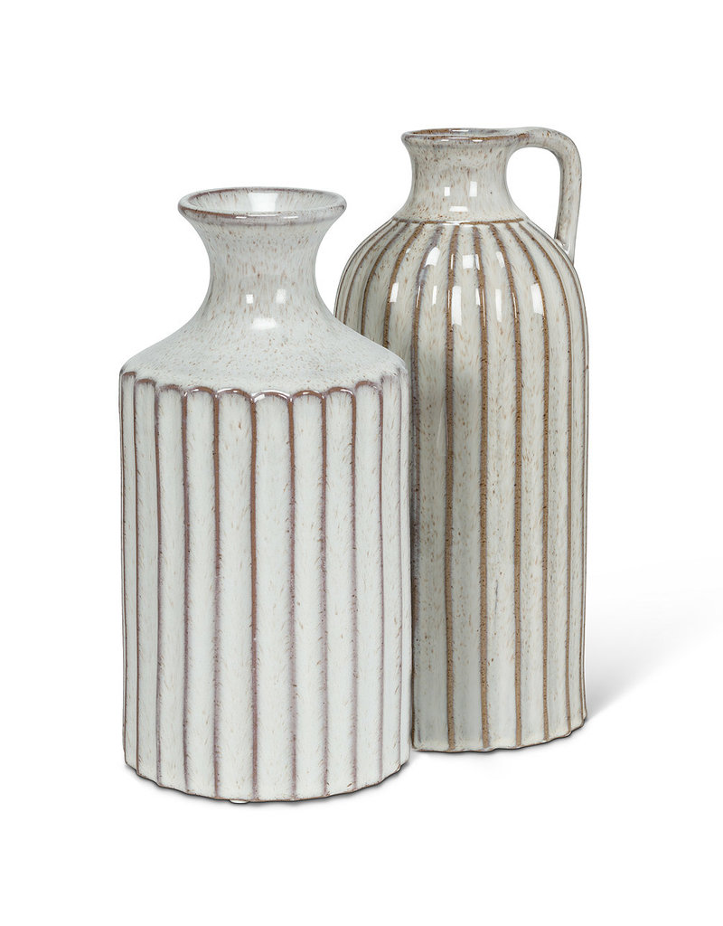 Ribbed Tall Neck Vase