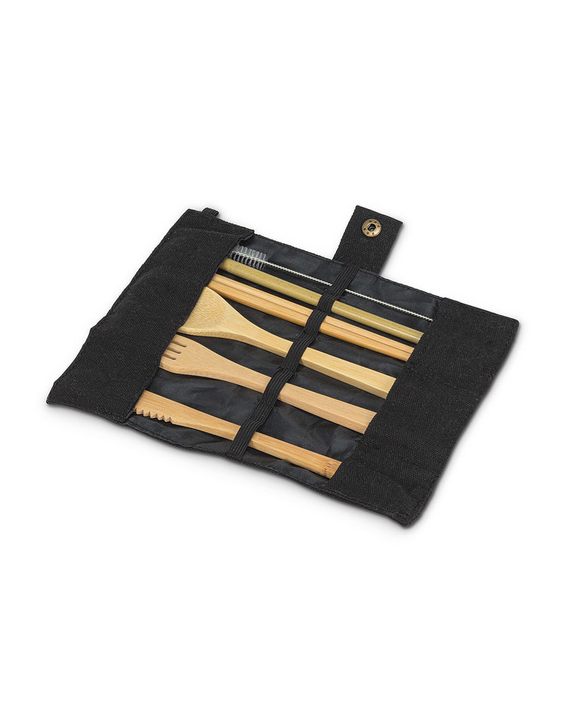Bamboo Cutlery Set in Roll. 7 Pieces - EB22