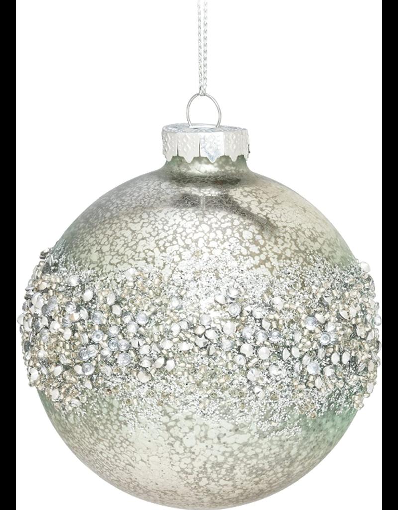 Silver & Faint Teal Glass Ornament - B1