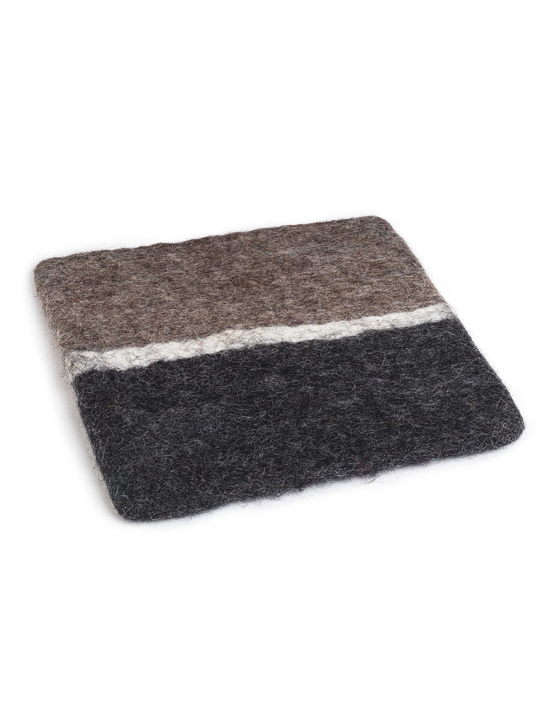 Square 3 Colour Trivet in Charcoal