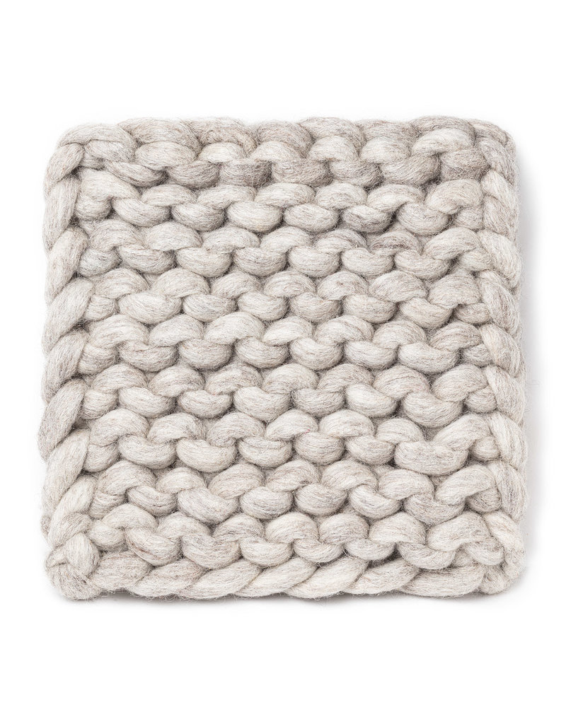 Chunky Knitted Trivet Oatmeal