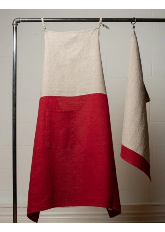 Le Chef Linen Apron, Natural with Caliente Red - EB24