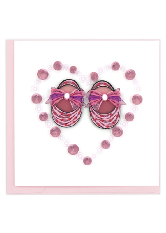 Pink Baby Booties Quilling Greeting Card