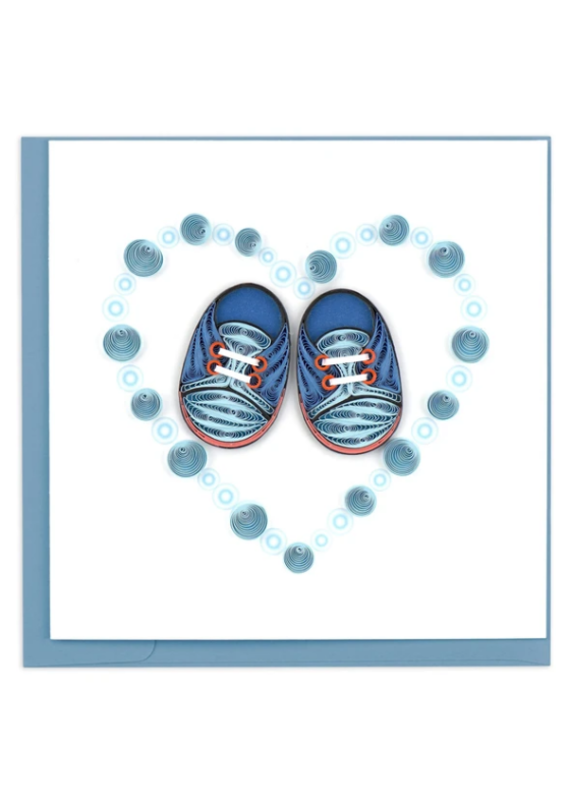 Blue Baby Booties Quilling Greeting Card