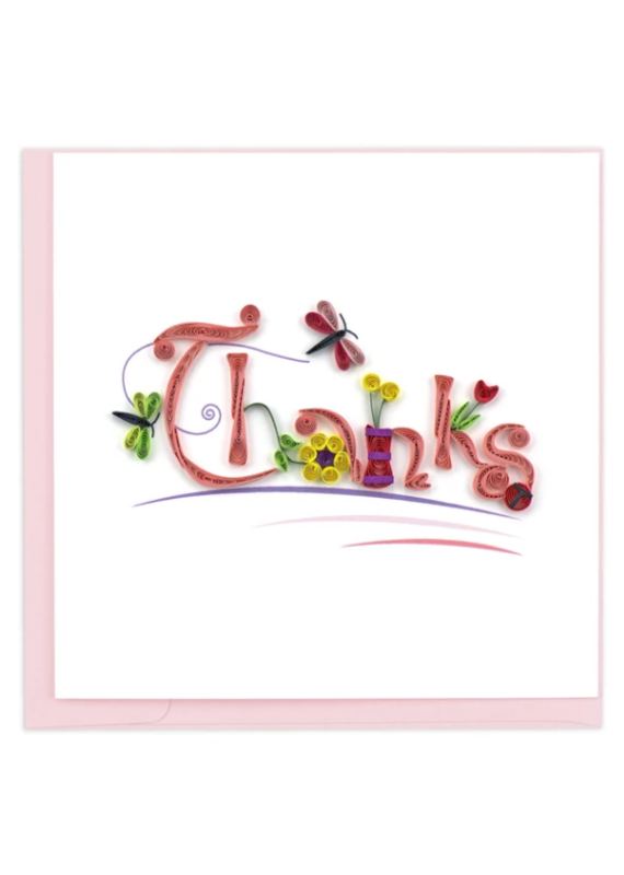 Thanks Dragonfly & Flower Quilling Greeting Card