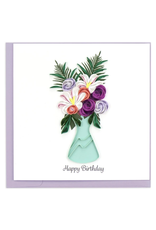 Flower Vase Happy Birthday Quilling Greeting Card