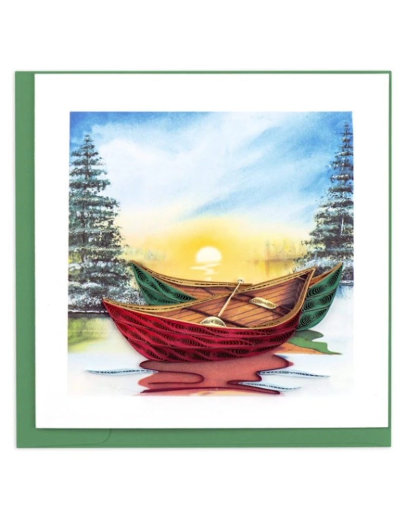 River Canoes Quilling Greeting Card