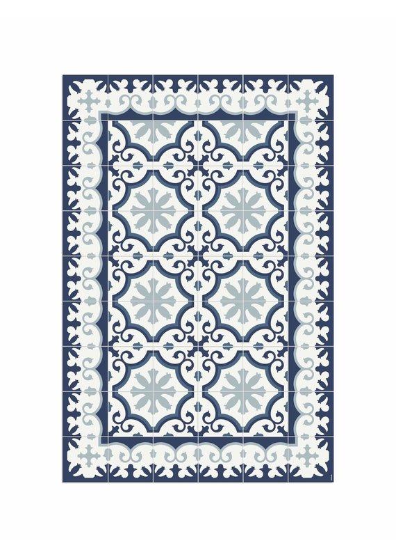 """Locus Vie Vinyl Floor Coverings Avenir Blue Floor Mat Medium Rug 3'11""""x5'11"""""""