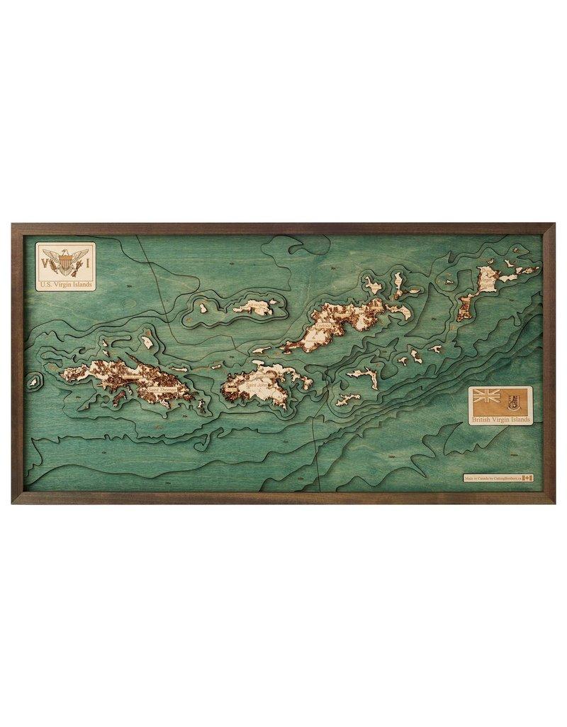 Virgin Islands 3d Wall Map 40.5cmx20cm