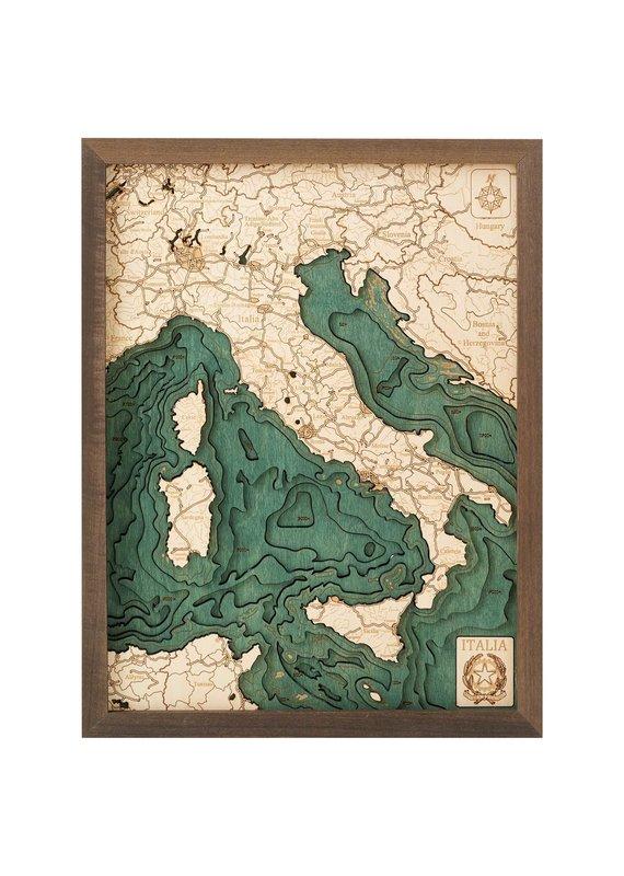 Italy 3d Wall Map 40.5cmx30.5cm