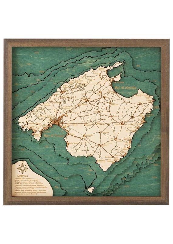 Mallorca Spain 3d Wall Map 35cmx35cm