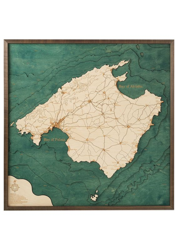 Mallorca Spain 3d Wall Map 76cmx76cm