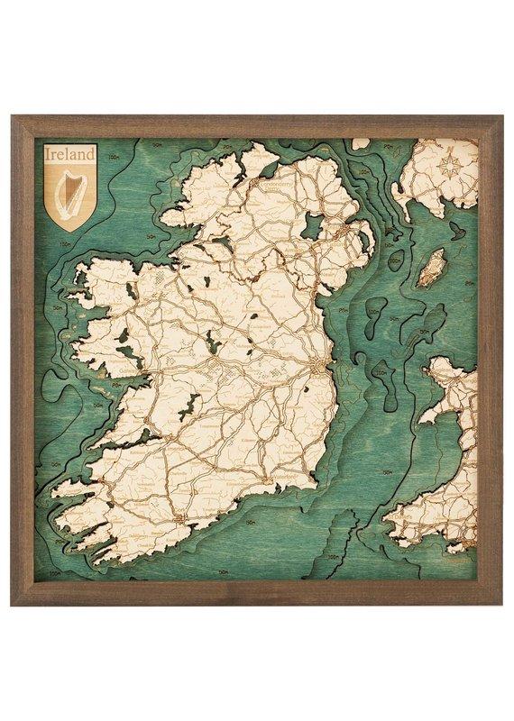Republic of Ireland 3d Wall Map 35cmx35cm
