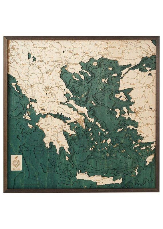 Greece 3d Wall Map 76cmx76cm