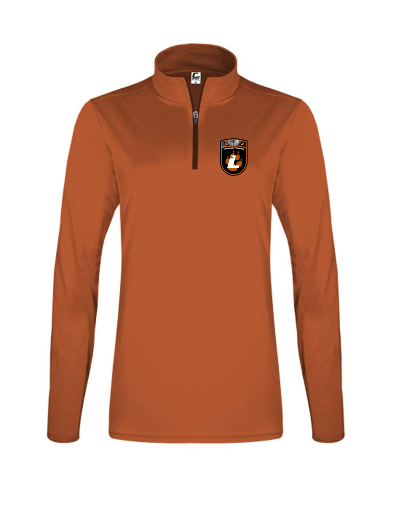 Badger C2 Sports Ladies Quarter Zip Pullover | Burnt Org | Lourdes Badge