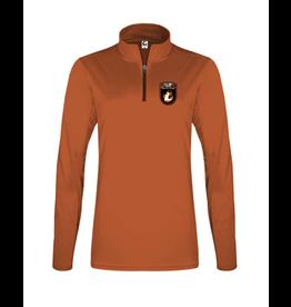 Badger C2 Sports Ladies Quarter Zip Pullover | Burnt Org | Lourdes Badge