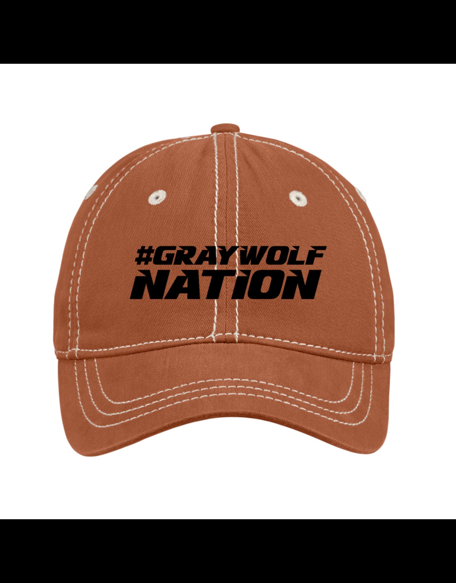 District District®Thick Stitch Cap | #GraywolfNation - Orange with Black Imprint *