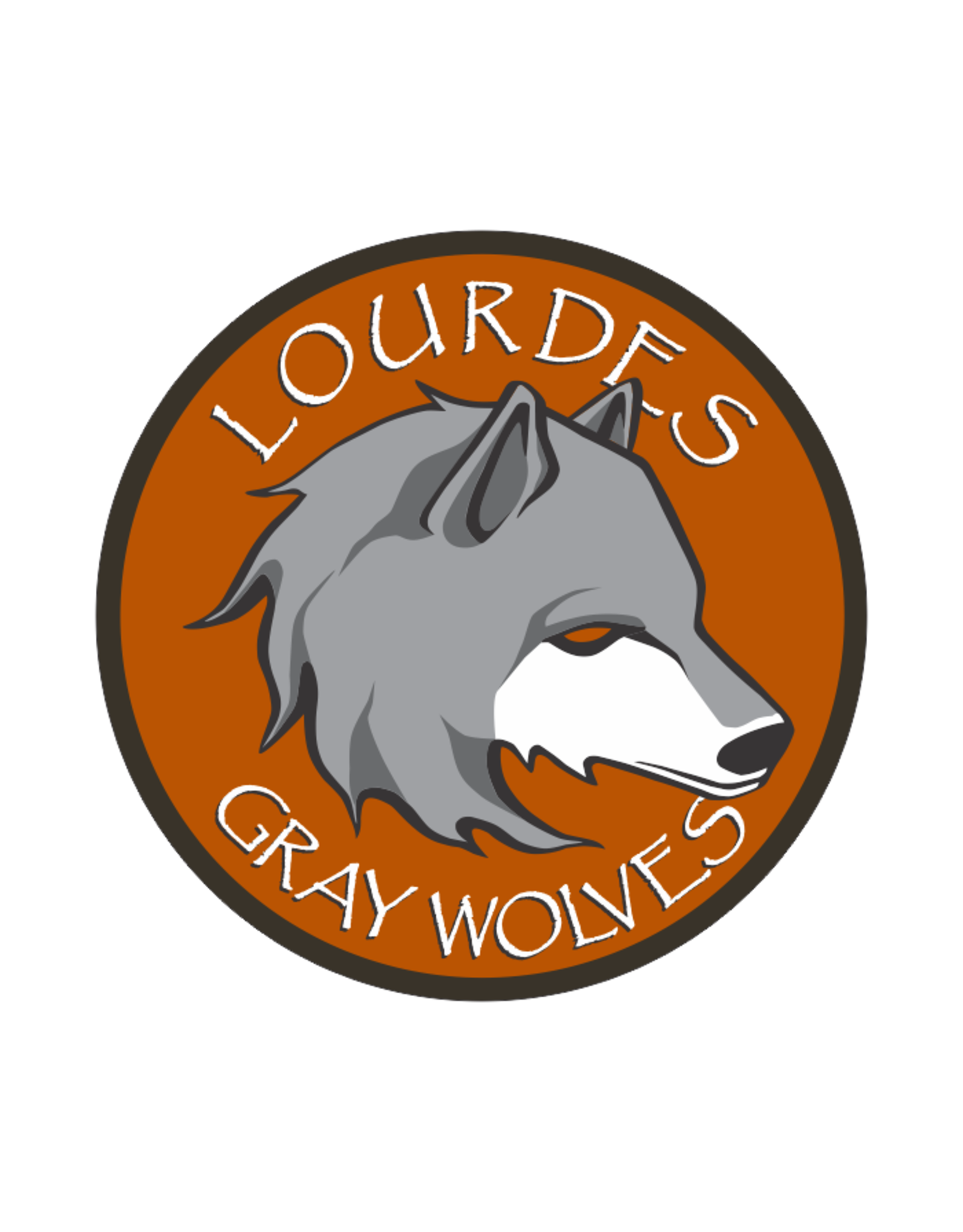 """Decal - Round  4"""" W Gray Wolves Head"""