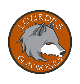 "Decal - Round  4"" W Gray Wolves Head"