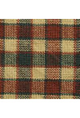 Yd. Green Tan Red Tri-color Fabric #48
