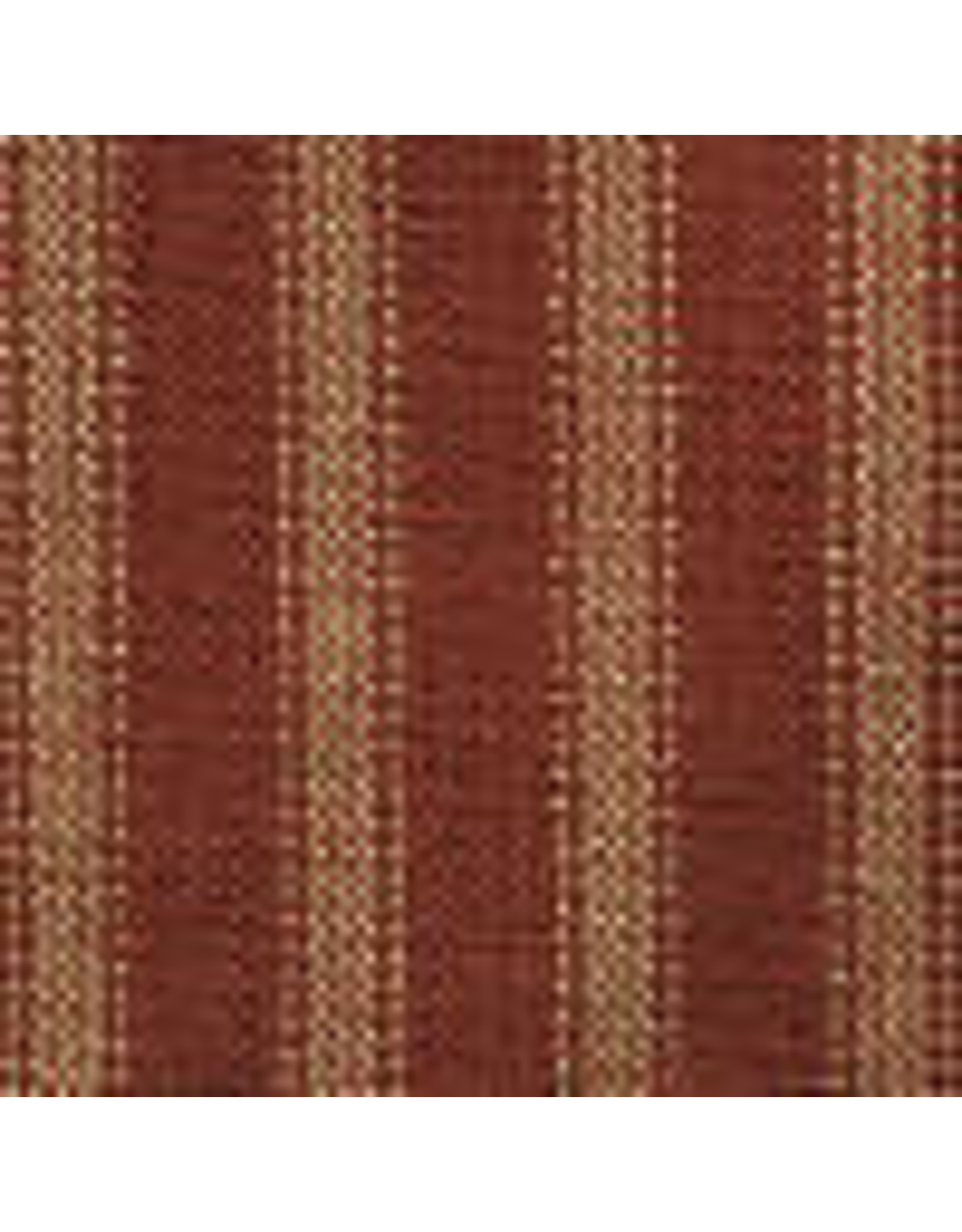 Yd Red and Tan Dark Ticking Fabric #37