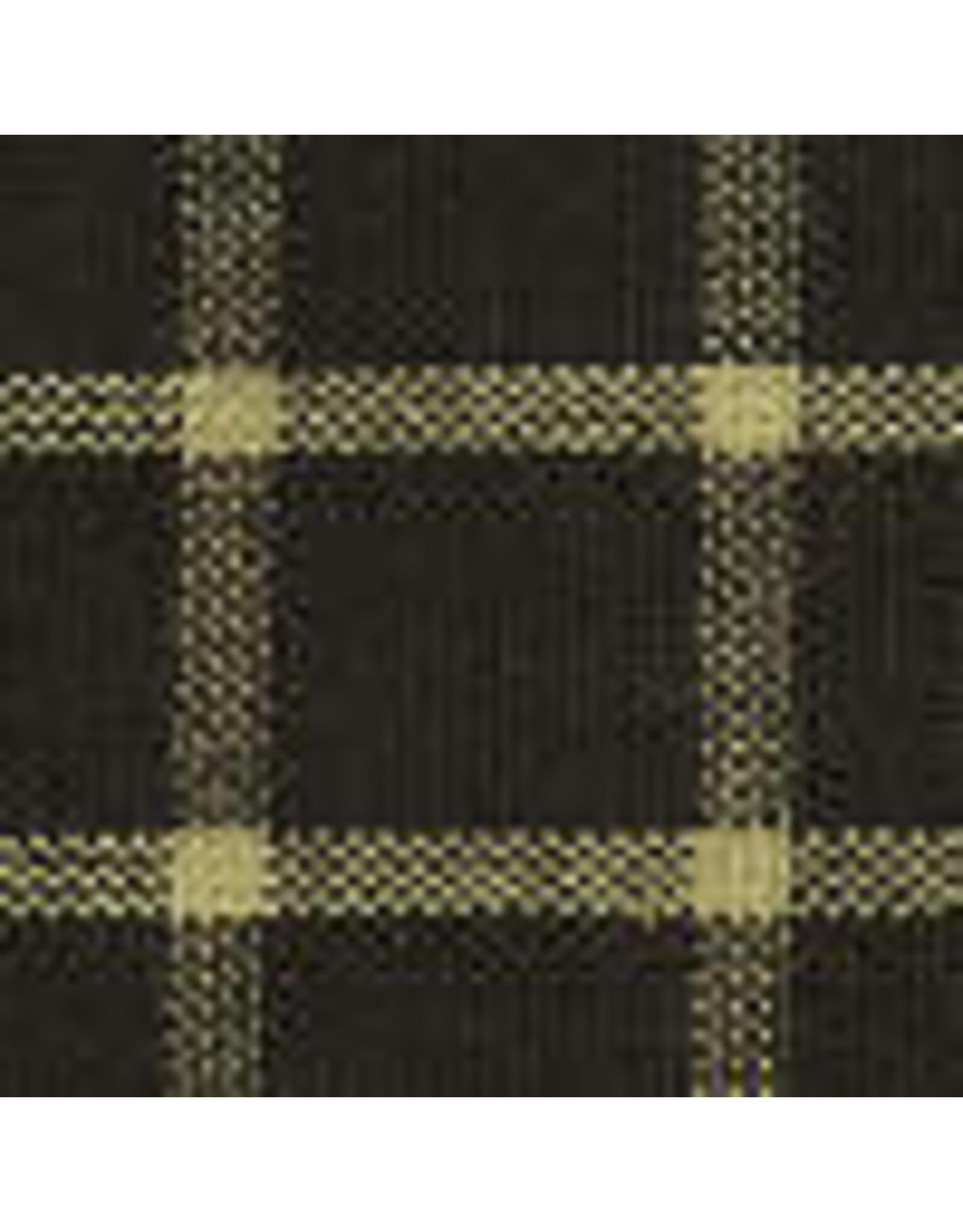 Yd. Navy and Tan Reverse Window Pane Fabric #201