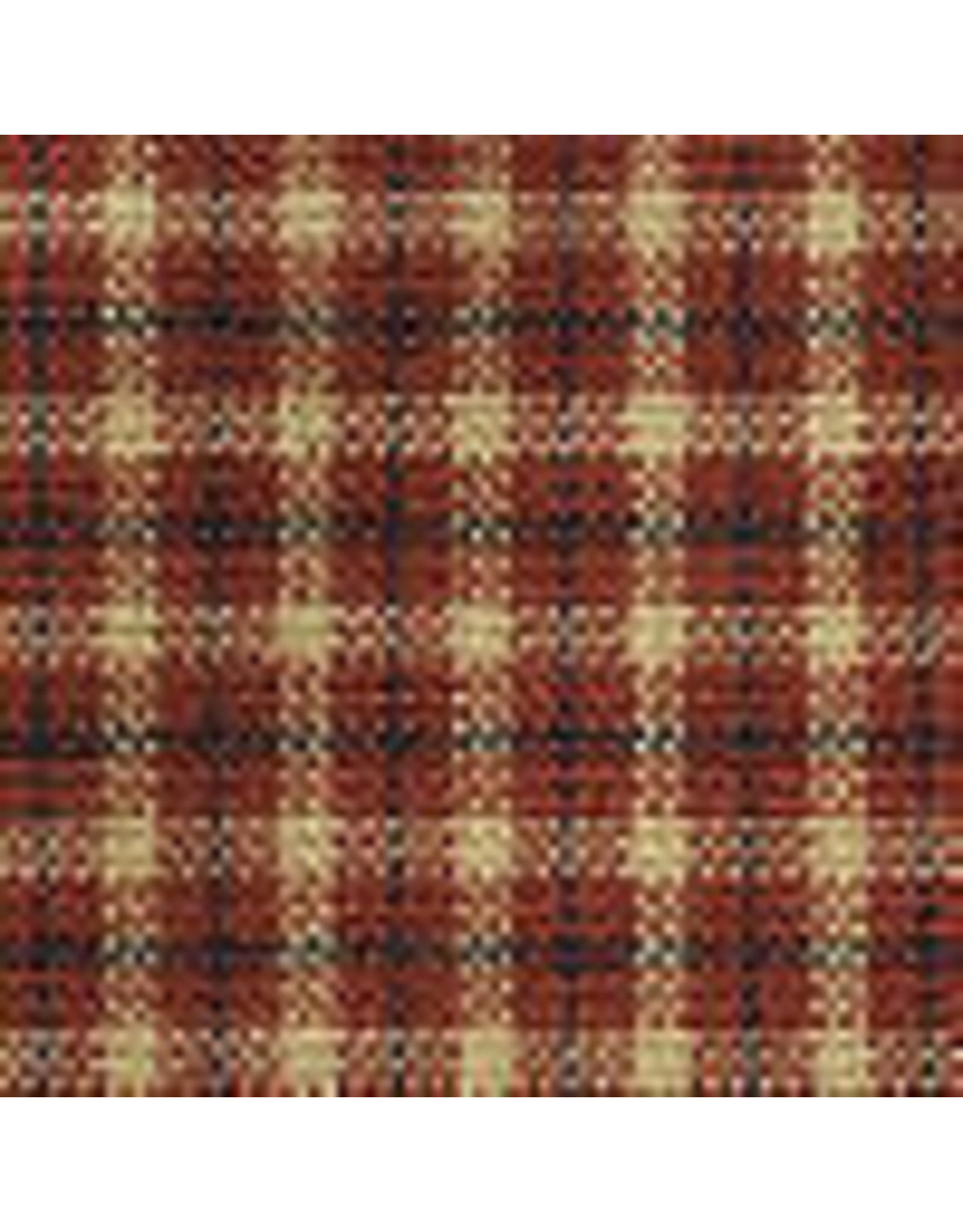 Yd. Red and Tan Reverse Mini Pane With Stripe Fabric #352