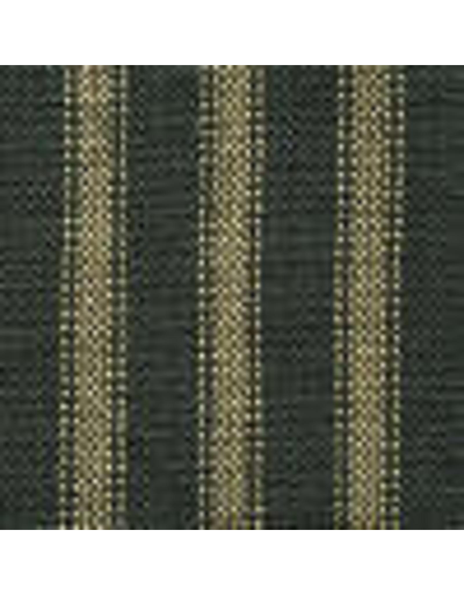 Yd. Green and Tan Dark Ticking Fabric #47