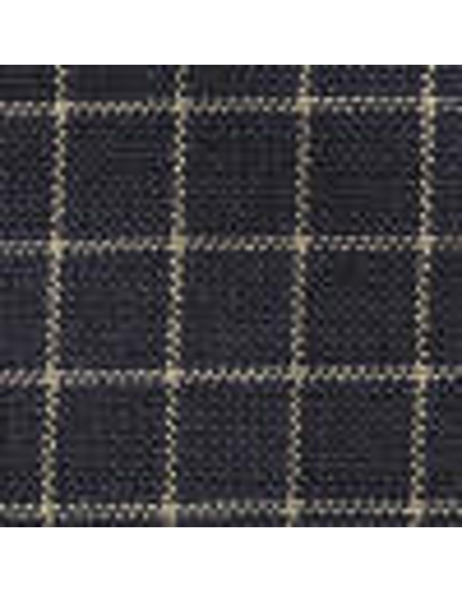Yd. Navy and Tan Small Window Pane Fabric #203