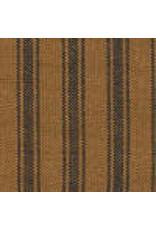 Yd. Pumpkin Spice and Black Ticking Stripe Fabric #5056