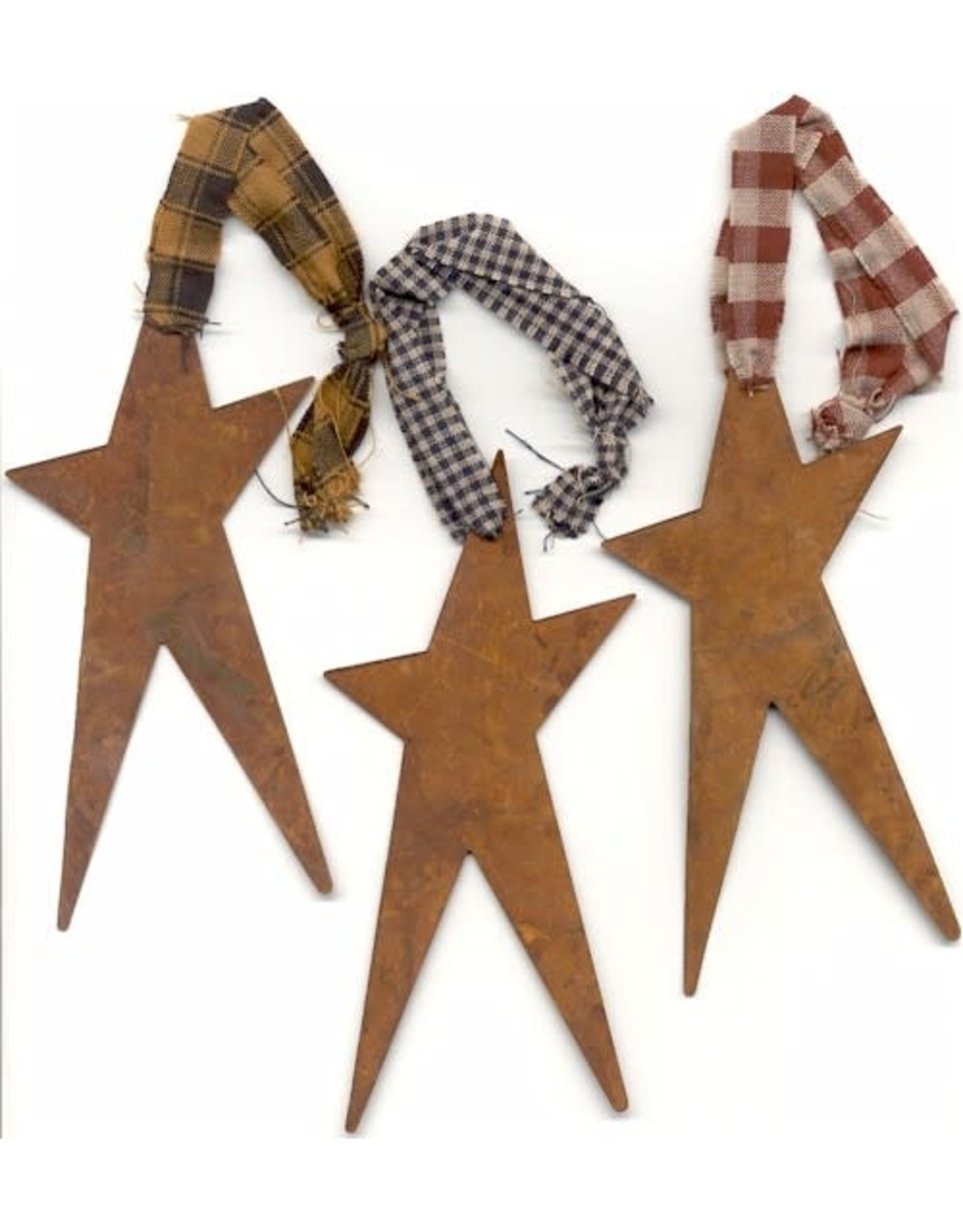 """RUSTY TIN STAR 5 1/2"""" WITH HOMESPUN FABRIC (RED) PACKAGED 12"""