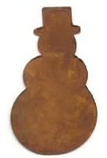 """RUSTY TIN SNOWMAN 1 1/2"""" (NO HOLE) PACKAGED 12"""