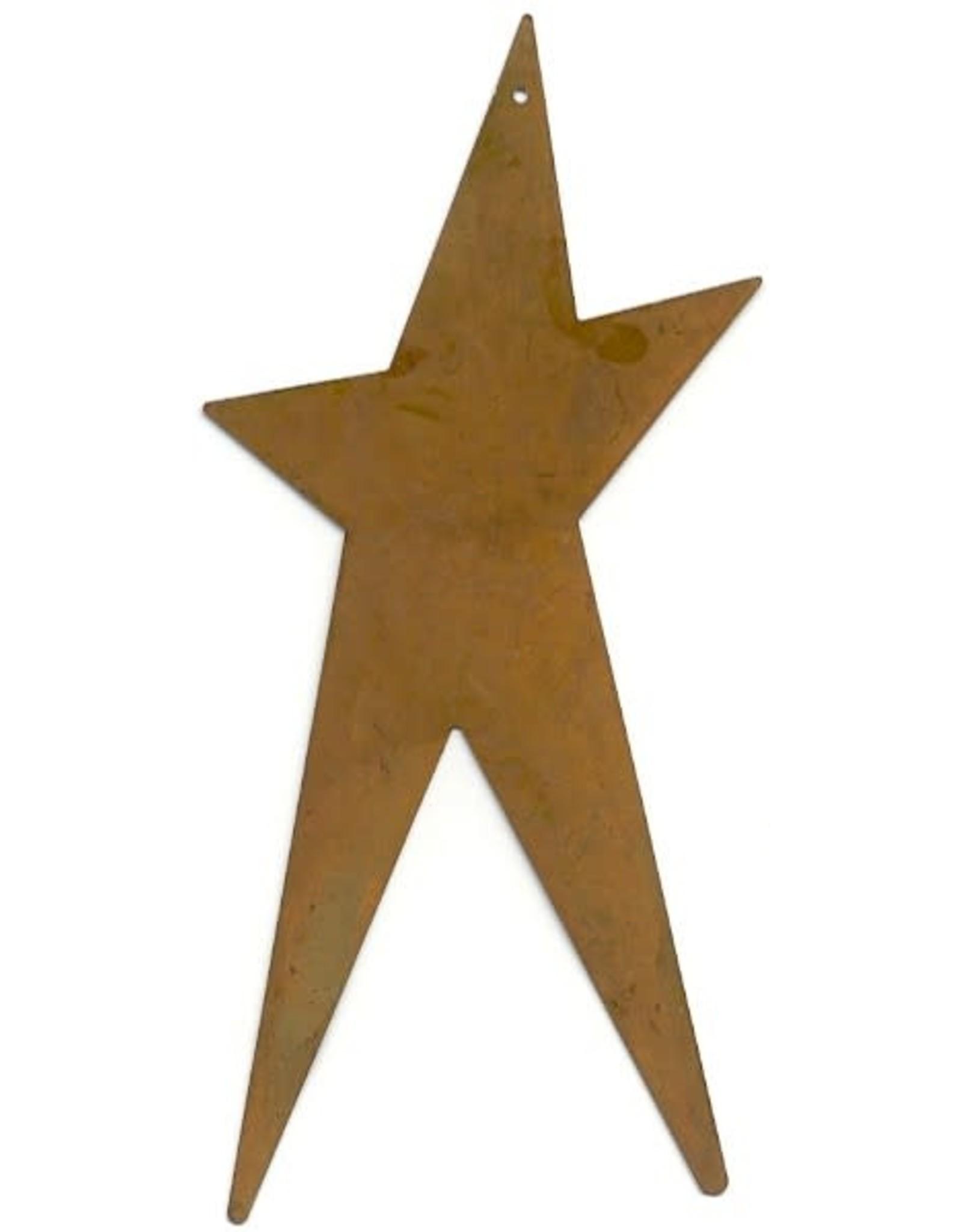 "RUSTY TIN FOLK STAR 6"" (WITH HOLE) PACKAGED 12"