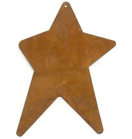 """RUSTY TIN STAR 3 1/4"""" X 5"""" (WITH HOLE) PACKAGED 12"""