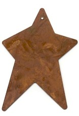 """RUSTY TIN STAR 2 1/2"""" X 3 3/4"""" (WITH HOLE) PACKAGED 12"""