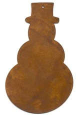 """RUSTY TIN SNOWMAN 4 1/2""""  (WITH  HOLE) PACKAGED 12"""