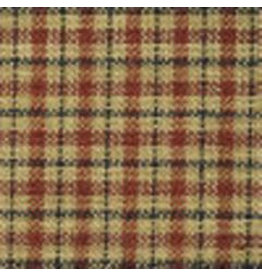 Yd.  Red and Tan Reverse Mini Pane with Black Stripe Fabric #351